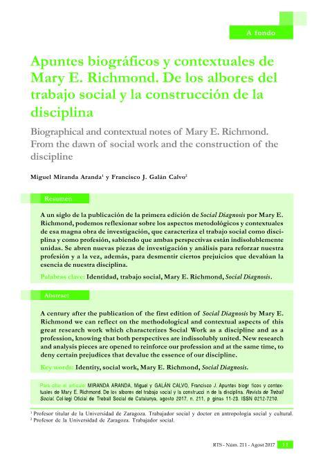 Apuntes biográficos y contextuales de Mary E. Richmond. De los albores del Trabajo Social y la construcción de la disciplina