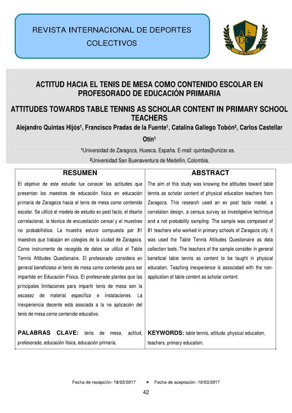 Actitud hacia el tenis de mesa como contenido escolar en profesorado de educación primaria