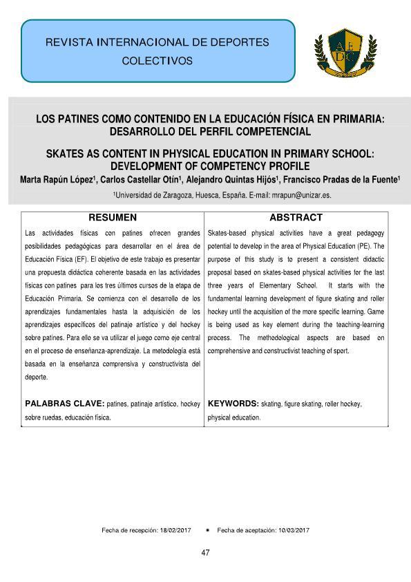 Los patines como contenido de educación física en primaria: desarrollo del perfil competencial