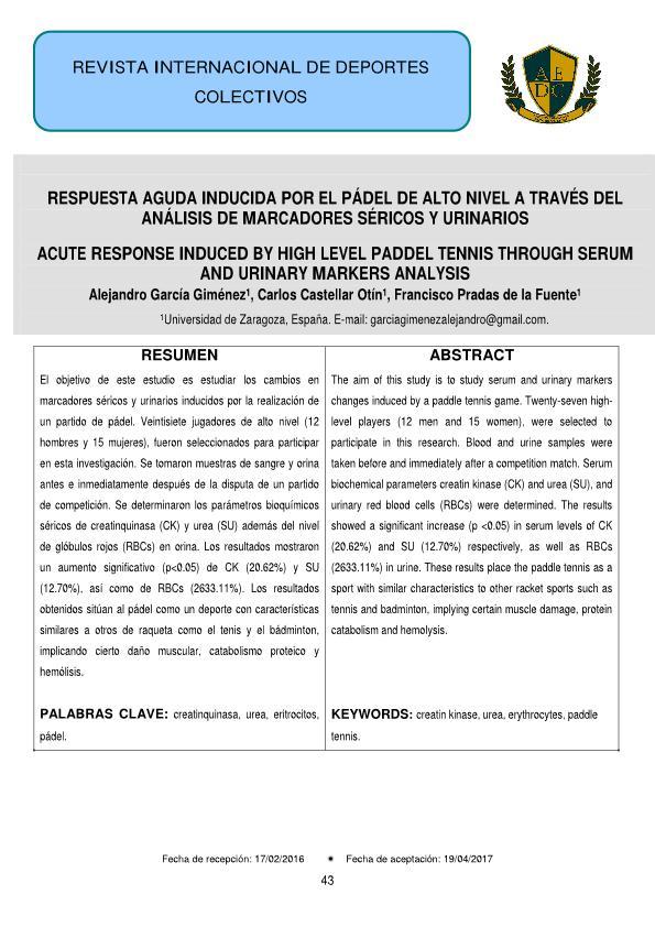 Respuesta aguda inducida por el pádel de alto nivel a través del análisis de marcadores séricos y urinarios