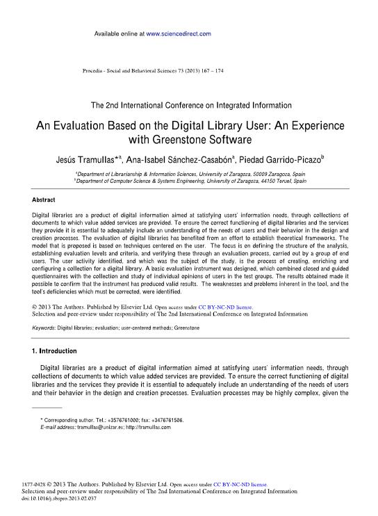 An evaluation based on the digital library user: An experience with greenstone software