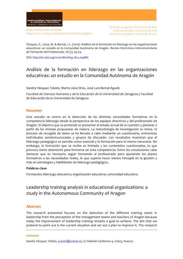 Análisis de la formación en liderazgo en las organizaciones educativas: un estudio en la Comunidad Autónoma de Aragón.