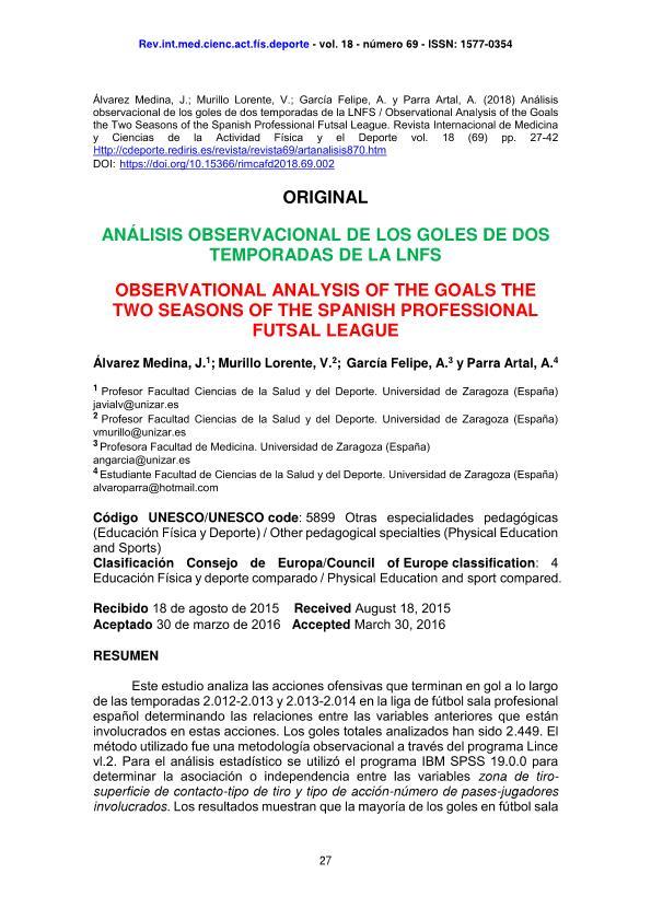 Análisis observacional de los goles de dos temporadas de la LNFS