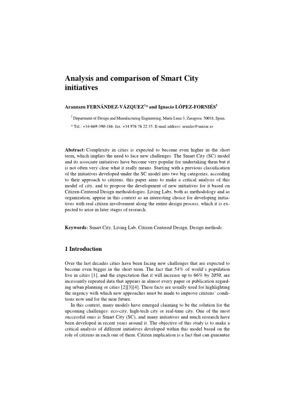 Analysis and comparison of smart city initiatives