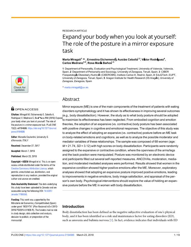 Expand your body when you look at yourself: The role of the posture in a mirror exposure task