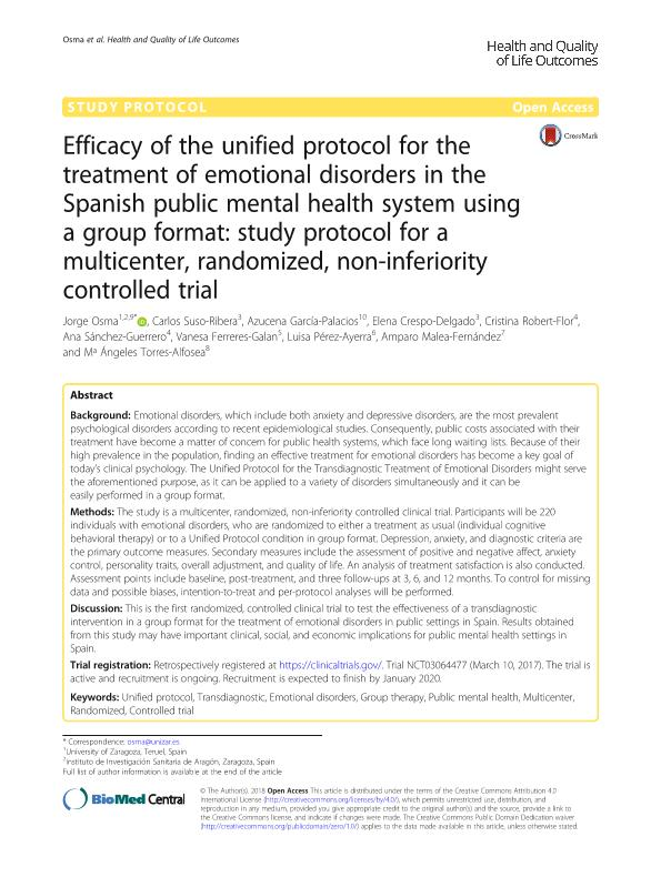 Efficacy of the unified protocol for the treatment of emotional disorders in the Spanish public mental health system using a group format: Study protocol for a multicenter, randomized, non-inferiority controlled trial