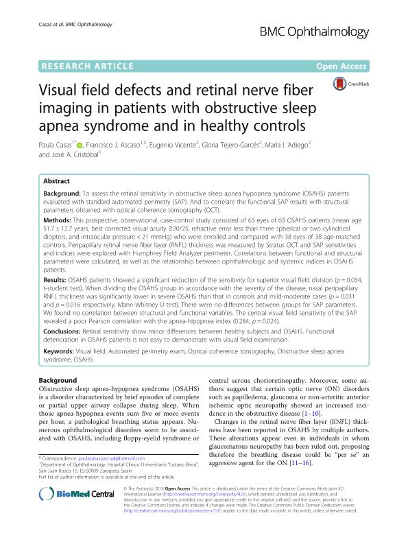 Visual field defects and retinal nerve fiber imaging in patients with obstructive sleep apnea syndrome and in healthy controls