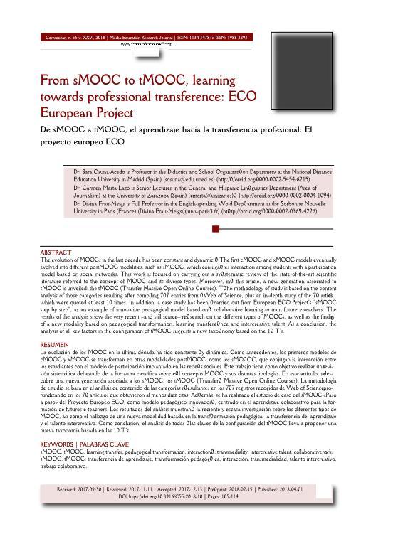 From sMOOC to tMOOC, learning towards professional transference: ECO European Project [De sMOOC a tMOOC, el aprendizaje hacia la transferencia profesional: El proyecto europeo ECO]