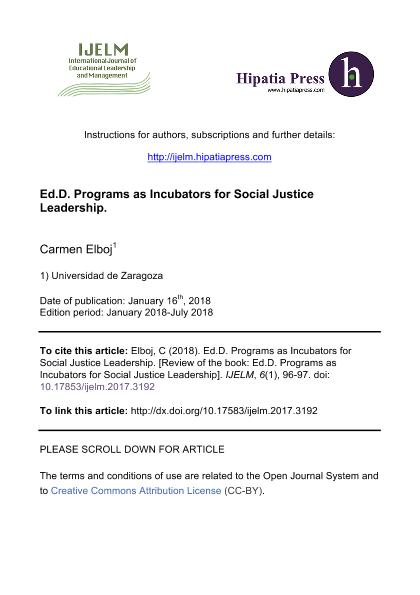 Ed.D. Programs as Incubators for Social Justice Leadership