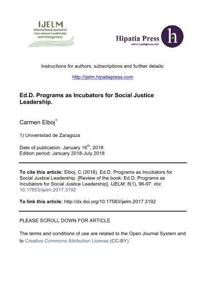 Ed.D. Programs as Incubators for Social Justice Leadership