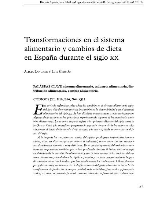 Transformaciones en el sistema alimentario y cambios de dieta en España durante el siglo XX