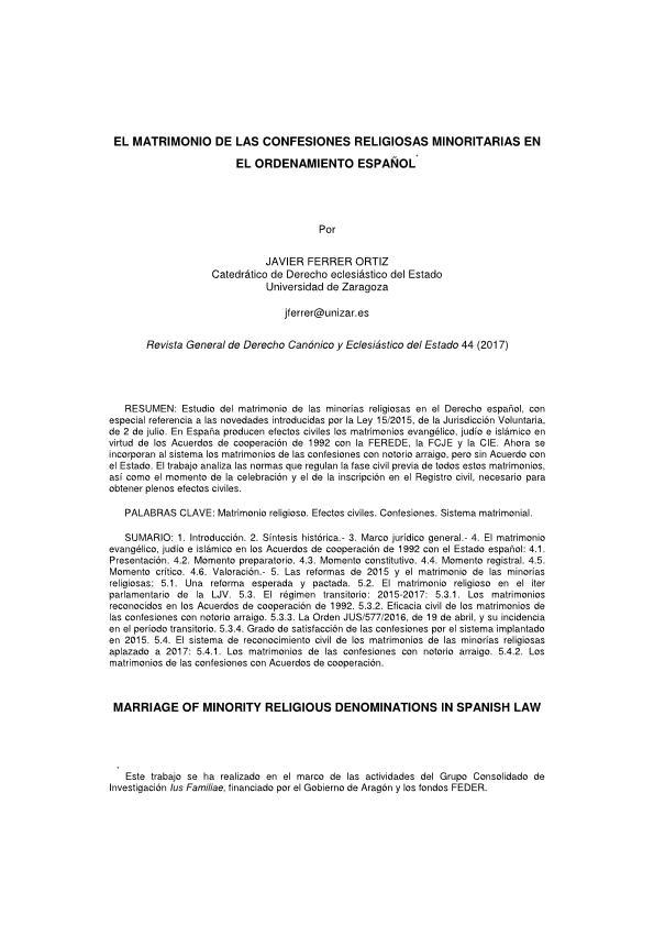 El matrimonio de las confesiones religiosas minoritarias en el ordenamiento español