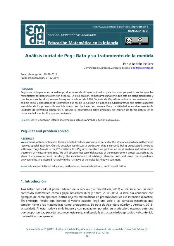 Análisis inicial de Peg+Gato y su tratamiento de la medida