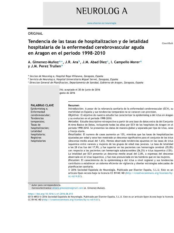 Tendencia de las tasas de hospitalización y de letalidad hospitalaria de la enfermedad cerebrovascular aguda en Aragón en el periodo 1998-2010