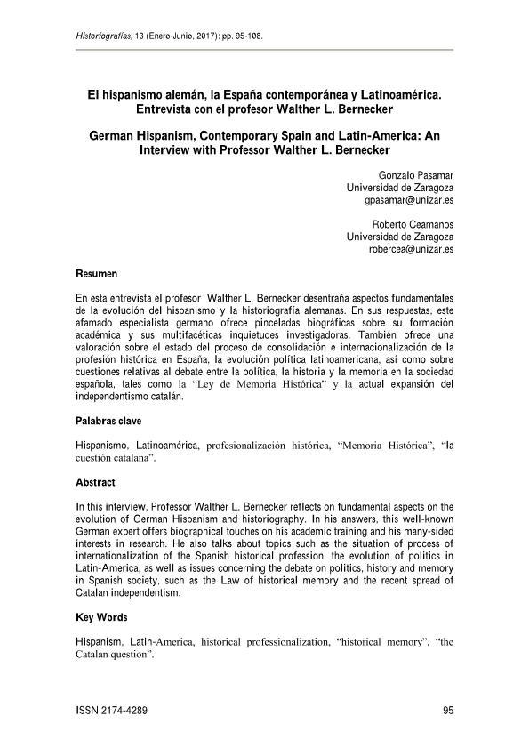 El hispanismo alemán, la España contemporánea y Latinoamérica. Entrevista con el profesor Walther L. Bernecker