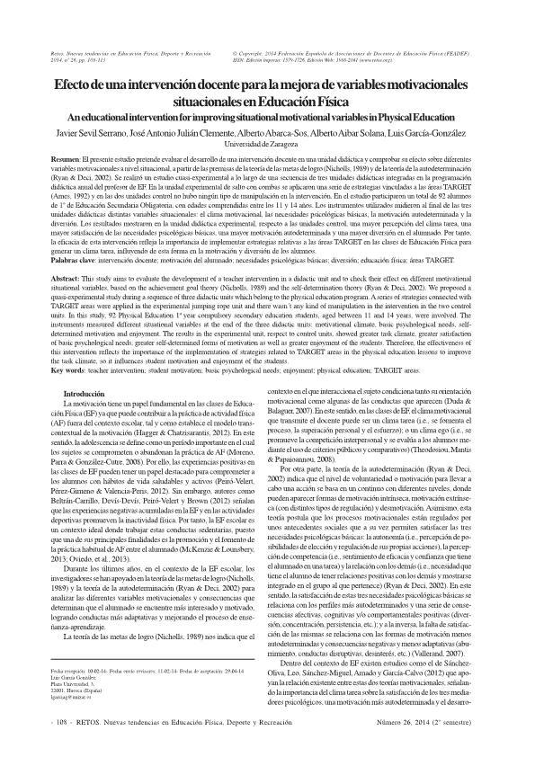 Efecto de una intervención docente para la mejora de variables motivacionales situacionales en Educación Física