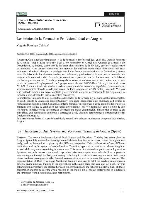 Los inicios de la formación profesional dual en Aragón