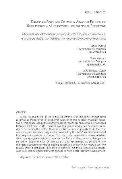 Drivers of economic growth in advanced economies: Results from a multisectorial-multiregional perspective