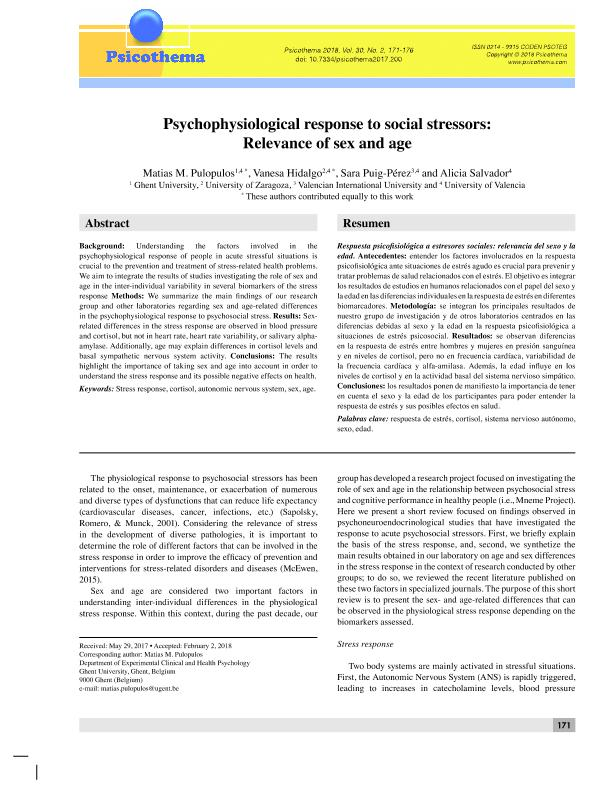 Psychophysiological response to social stressors: Relevance of sex and age