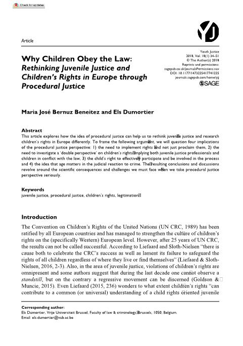 Why Children Obey the Law: Rethinking Juvenile Justice and Children''s Rights in Europe through Procedural Justice