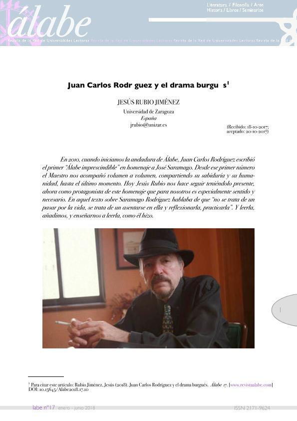 Juan Carlos Rodríguez y el drama burgués