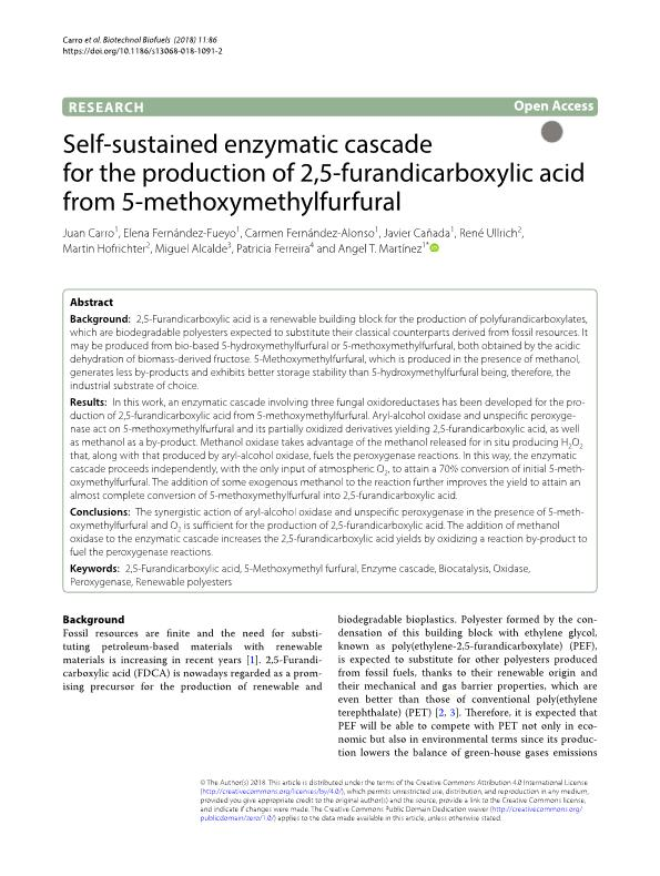 Self-sustained enzymatic cascade for the production of 2, 5-furandicarboxylic acid from 5-methoxymethylfurfural