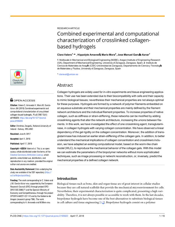 Combined experimental and computational characterization of crosslinked collagen-based hydrogels