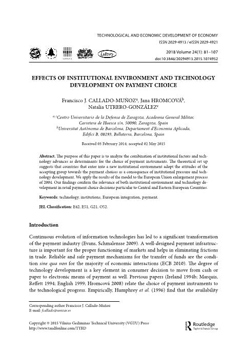 Effects of Institutional Environment and Technology Development on Payment Choice