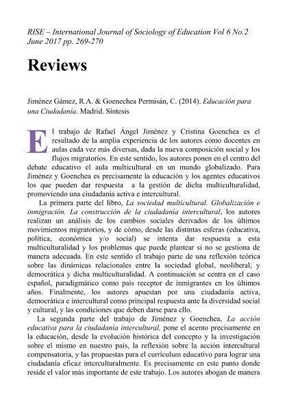 Educación para una Ciudadanía de Rafael Ángel Jiménez & Cristina Goenchea