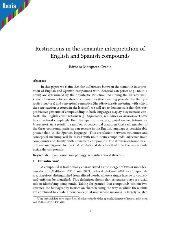 Restrictions in the semantic interpretation of English and Spanish compounds
