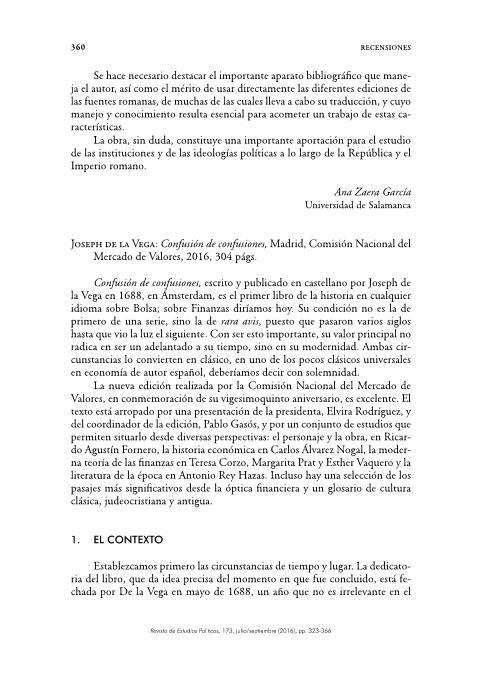 Joseph de la Vega: Confusión de confusiones