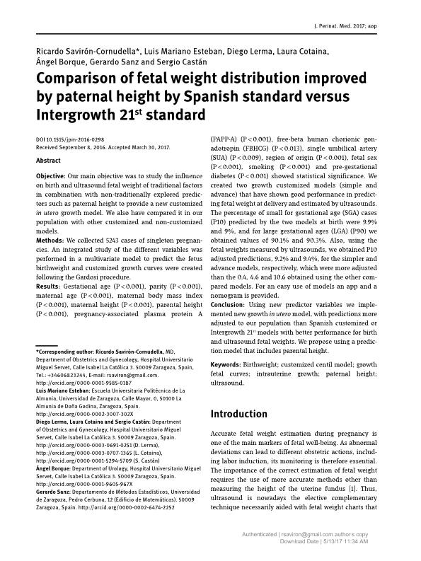 Comparison of fetal weight distribution improved by paternal height by Spanish standard versus Intergrowth 21st standard