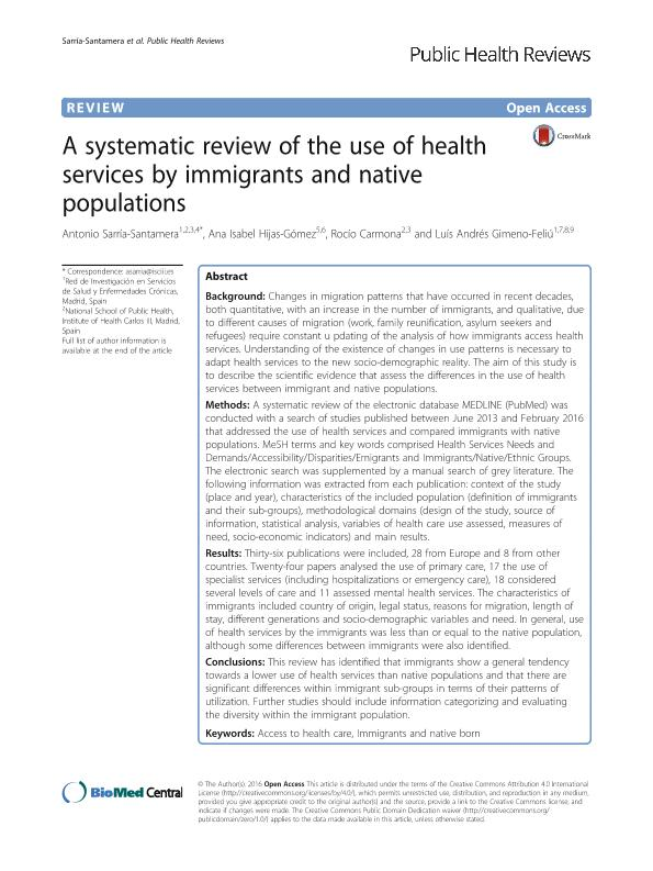 A systematic review of the use of health services by immigrants and native populations
