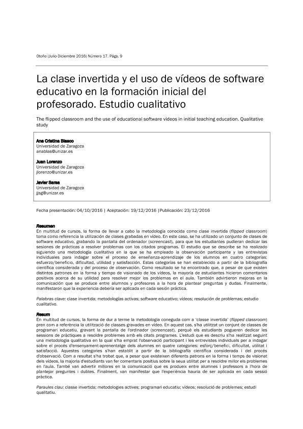 La clase invertida y el uso de vídeos de software educativo en la formación inicial del profesorado. Estudio cualitativo