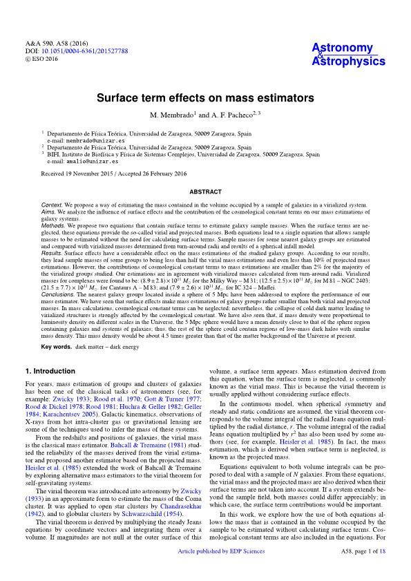 Surface term effects on mass estimators