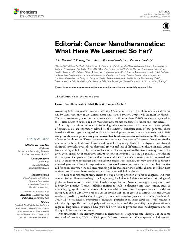 Editorial: Cancer Nanotheranostics: What Have We Learned So Far?