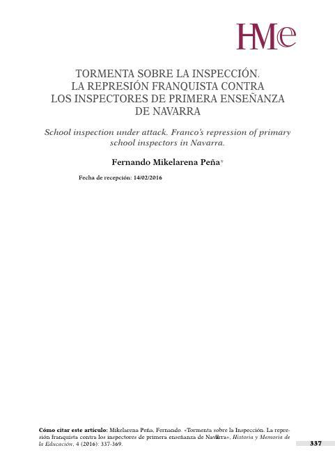 Tormenta sobre la inspección. La represión franquista contra los inspectores de primera enseñanza de Navarra
