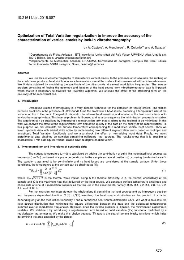Optimization of Total Variation regularization to improve the accuracy of the characterization of vertical cracks by lock-in vibrothermography