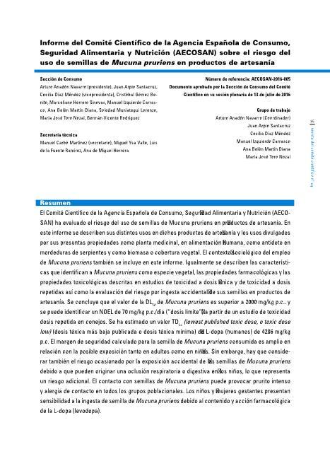 Informe del Comité Científico de la Agencia Española de Consumo, Seguridad Alimentaria y Nutrición (AECOSAN) sobre el riesgo del uso de semillas de Mucuna pruriens en productos de artesanía