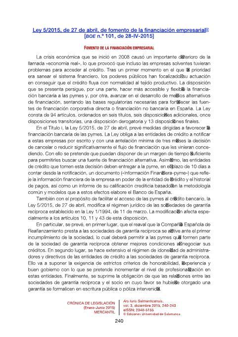 Ley 5/2015, de 27 de abril, de fomento de la financiación empresarial