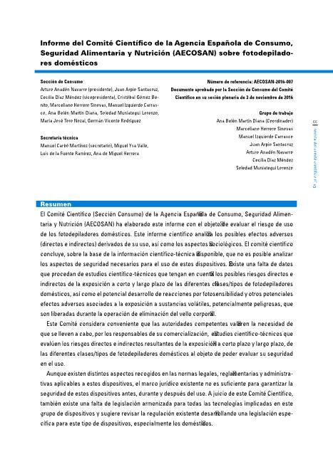 Informe del Comité Científico de la Agencia Española de Consumo, Seguridad Alimentaria y Nutrición (AECOSAN), sobre fotodepiladores domésticos