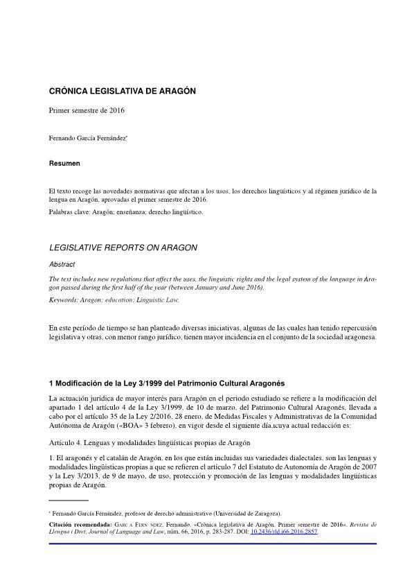 Crónica legislativa de Aragón. Primer semestre de 2016