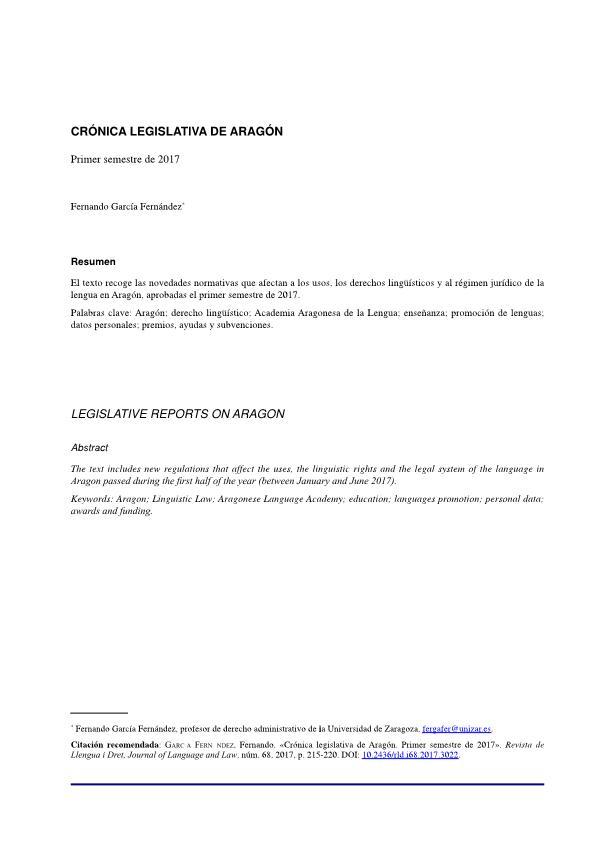 Crónica legislativa de Aragón. Primer semestre de 2017