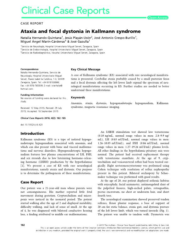Ataxia and focal dystonia in Kallmann syndrome
