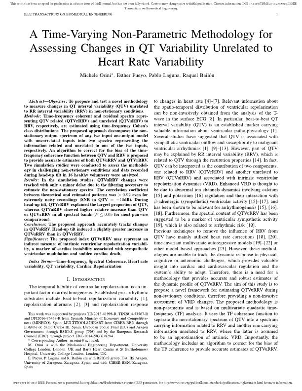 A time-varying non-parametric methodology for assessing changes in QT variability unrelated to heart rate variability.