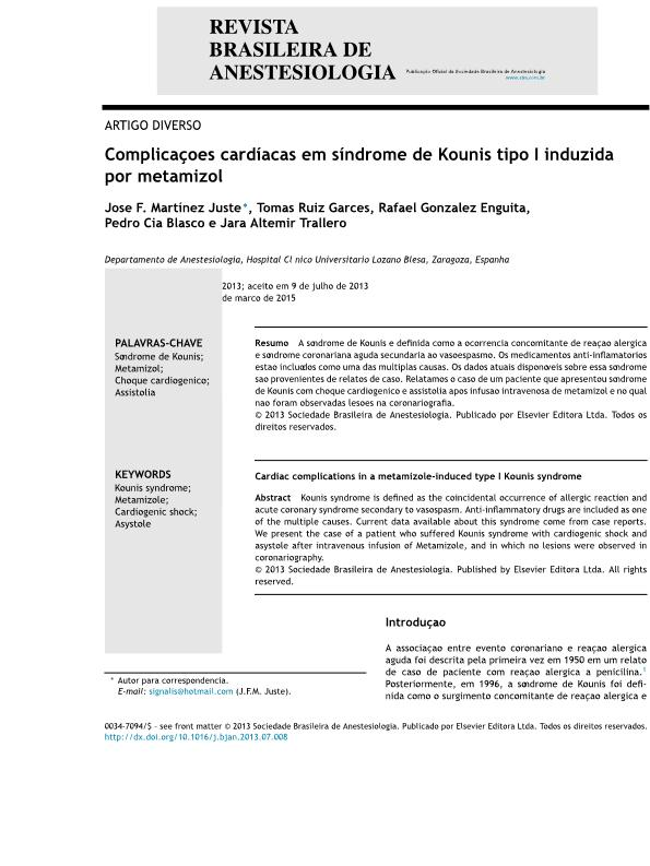 Complicações cardíacas em síndrome de Kounis tipo I induzida por metamizol [Cardiac complications in a metamizole-induced type I Kounis syndrome]
