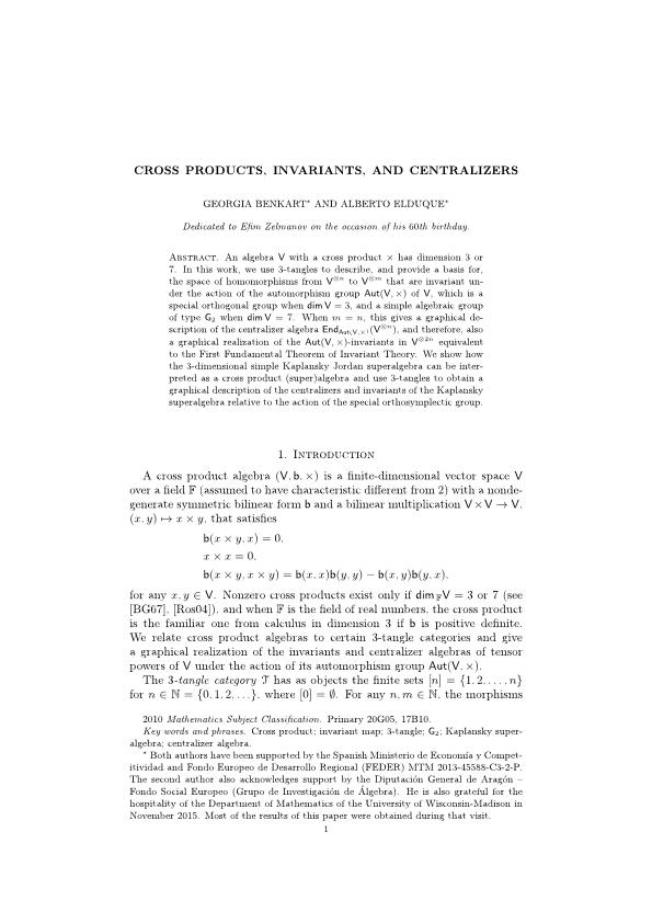 Cross products, invariants, and centralizers