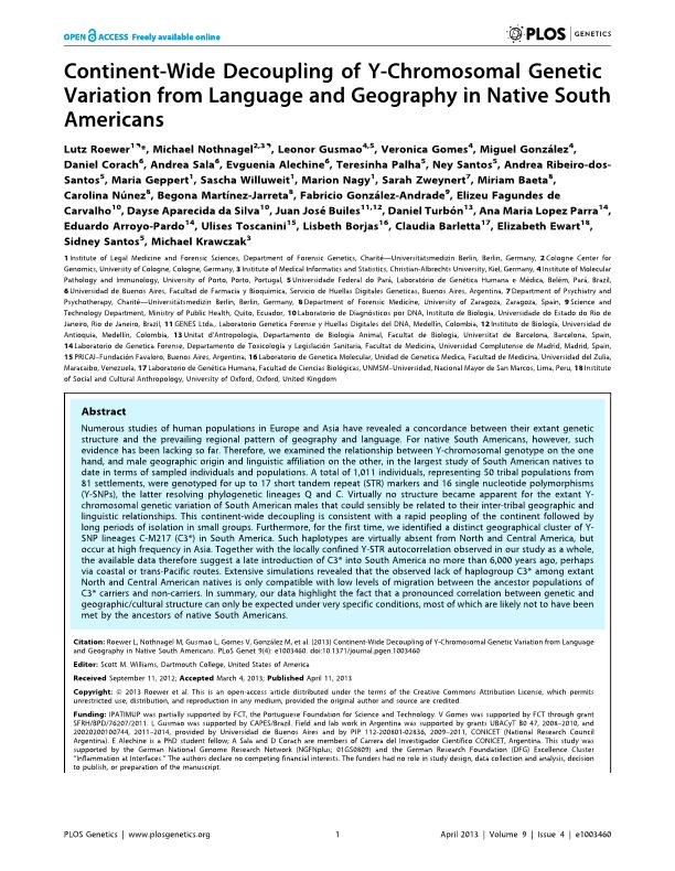 Continent-Wide Decoupling of Y-Chromosomal Genetic Variation from Language and Geography in Native South Americans
