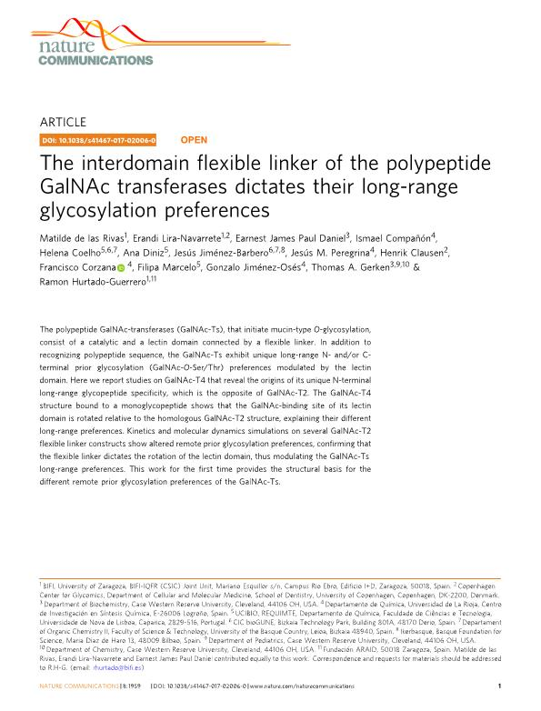 The interdomain flexible linker of the polypeptide GalNAc transferases dictates their long-range glycosylation preferences