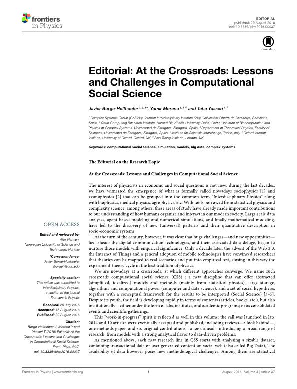 Editorial: At the Crossroads: Lessons and Challenges in Computational Social Science
